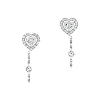 Boucles d'oreilles Joy Diamant Cœur Chaîne